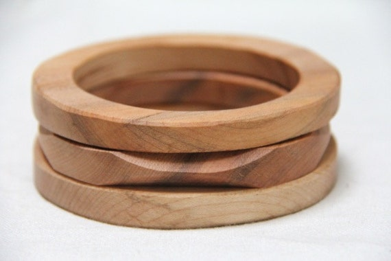 skinny trio - natural wood bangles in maple - small