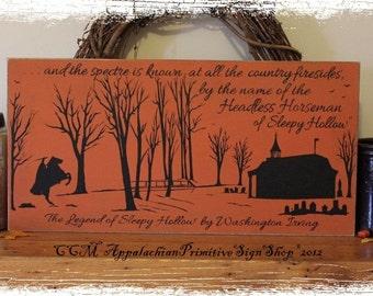 Legend of Sleepy Hollow Headless Horseman Painting/Halloween Decor/Wall Hanging/Folk Art/Primitive Fall Decor