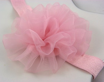 pink chiffon petti puff flower headband - newborn infant baby headband - toddler girls headband - valentines day headband