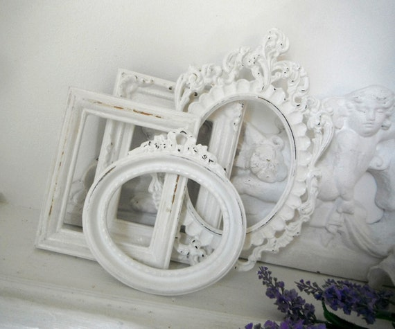 white open picture frames OOAK distressed shabby chic small set open frame set photo frames French country ornate wall decor