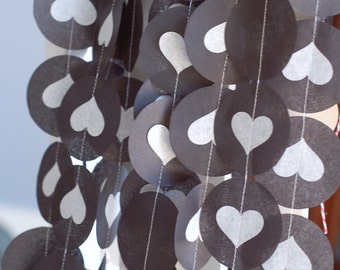 Tissue Garland - Black and White Hearts