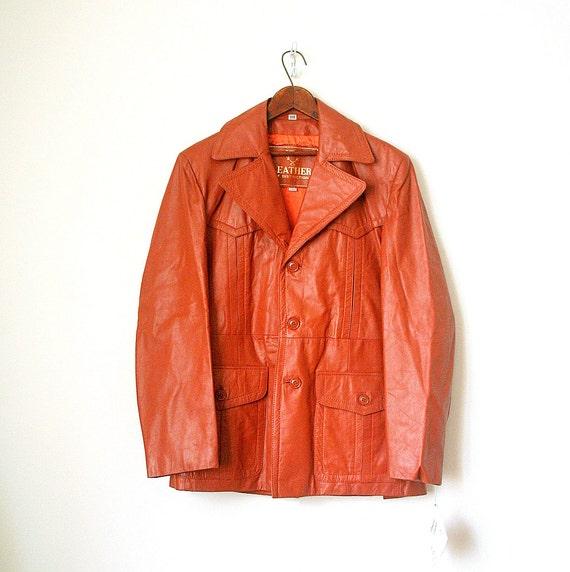 vintage LEATHER jacket / coat PUMPKIN burnt orange RETRO 1970's new old stock . 40r