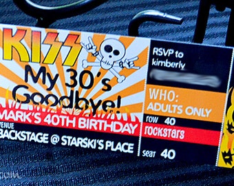 Birthday INVITE - Rocker Party - Concert Ticket INVITE - KISS my 30s Goodbye - Rocker Happy Birthday Invite - Invitation Design