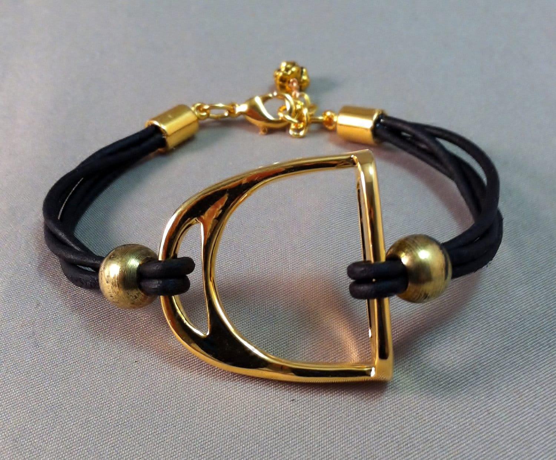 gold plated stirrup and leather bracelet equestrian bracelet