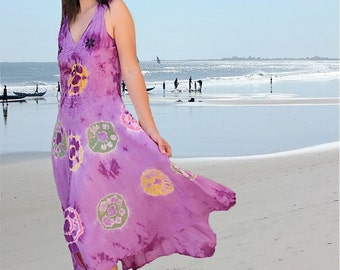 women Dresses/colorful tunics/batik holiday dresses/Tie dye summer dresses/maxi day dresses