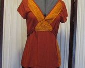 Reconstructed Recycled EcoFriendly Ladies' Top SS Rust Size Large  with Irridescent Light Tan and Copper Indian Asian Ethnic Fabric
