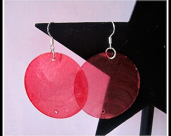 Sterling Silver Red Shell Disc Earrings