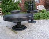 Handcrafted Round Cocktail Table And Matching Side Tables Distressed Black with Beautiful Hand Carved Legs