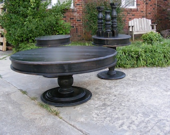 Handcrafted Round Coffee Table And Matching Side Tables Distressed Black with Beautiful Hand Carved Legs