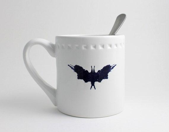 Rorschach Ink Blot Coffee Mug - Black and White Psychiatrist Test