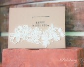 "Kraft paper ""Happy Marriage"" wedding congratulations card with vintage floral lace applique, pearls, and stamped lettering"