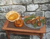 Miniature Medieval CHICKEN FEAST Renaissance Tudor Castle Food Meal Dinner Bread
