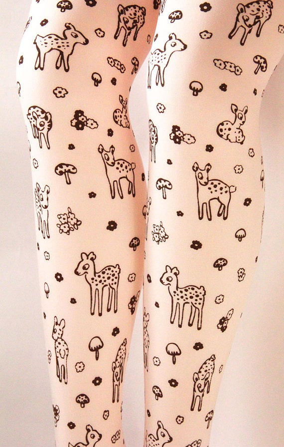 Deer Tights Fawn & Mushroom Print Small Semi Opaque Brown on Peach Nude Women Mori Girl Forest Toadstool Woodland Floral Flowers