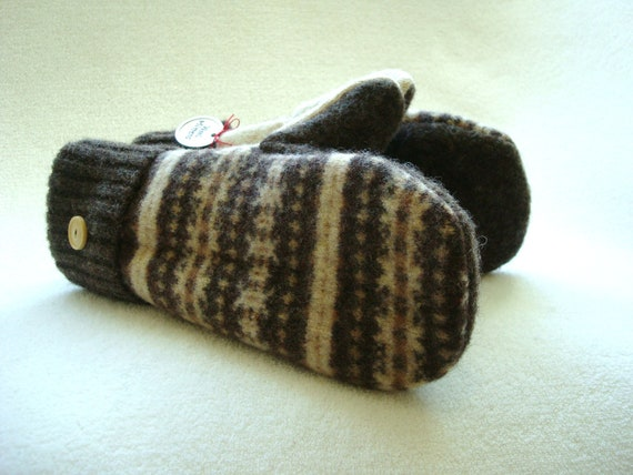 Brown Mittens CHOCOLATE & CAMEL Fair Isle Felted Sweater Wool Cashmere Lined