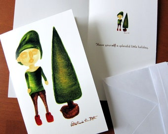 Set of Ten (10) Folded Holiday Cards with Simple Design: Christmas Elf Standing Next to Christmas Tree