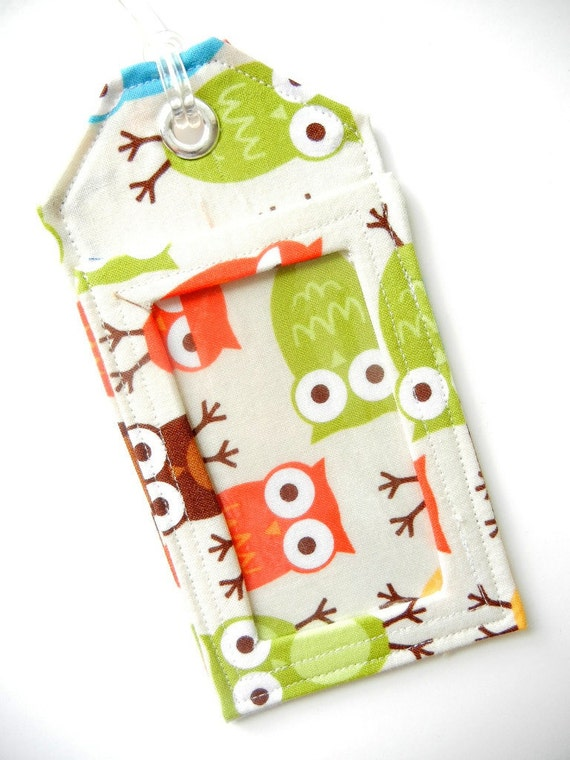 Kid Back Pack Tag / ID Holder/ Back to School  - Owls Made to Order