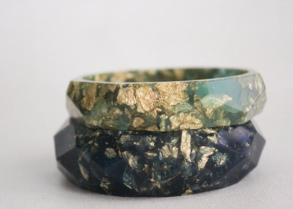 seafoam eco resin faceted bracelet bangle with gold leaf
