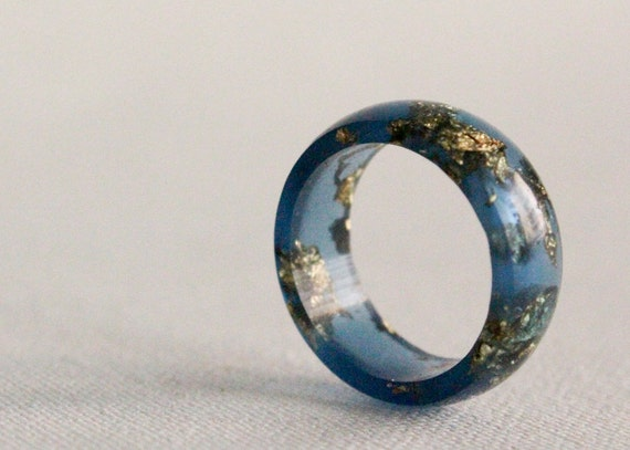size 8 starry night round resin eco resin ring