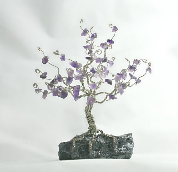 Tree of life with amethyst gemstones and  silver wire, jewelry display, rings and earrings holder, (a28)
