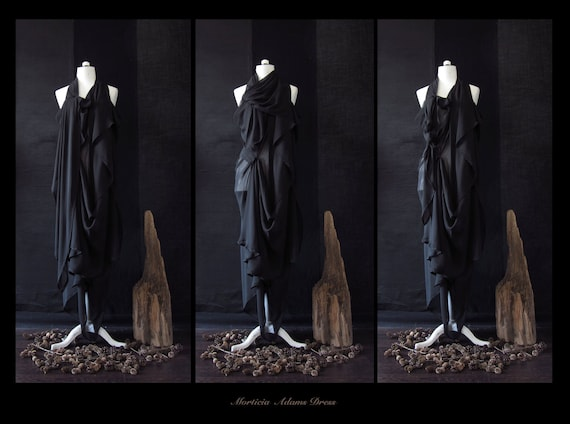 RESERVED ,Morticia Adams , Mysterious Goddess Dress , Avant Garde , One Of A Kind , Free Size S/M/L , US 8/10/12/14/16