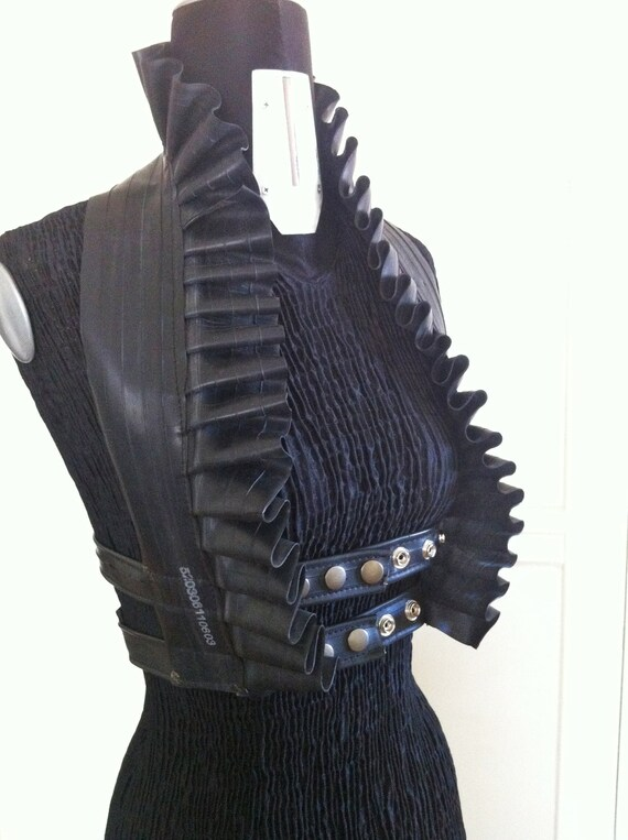 Upcycled Bicycle Inner Tube Ruffle Vest Strap Halter Top Burning Man Goth Fetish Post Apocalyptic Steampunk Adjustable Harness Underbust
