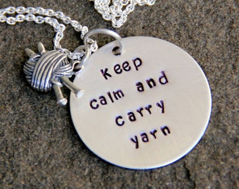 Knitting Necklace, KNitting, Keep Calm and Carry Yarn, Knit Lovers, Personalized Quote Necklace,  Grandma , Christmas  Quote Jewelry