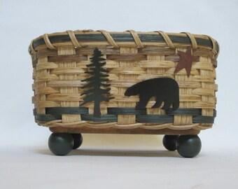 Napkin Basket-Bear-Bread Basket-Handwoven Basket-Square Basket