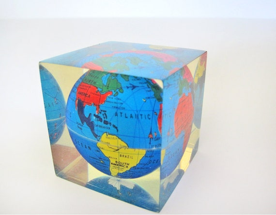 Lucite world globe paperweight, desk accessory, back to school