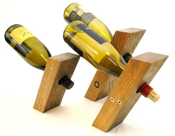 Reclaimed wood wine rack set of 3 - Wine bottle storage angle ...