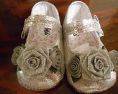 Vintage Inspired Silver infant Baby shoes In sizes 0,1,2,3,4