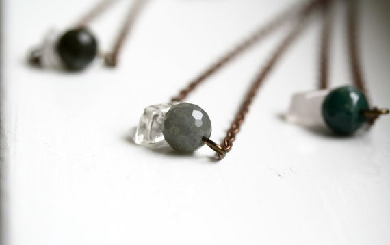 Shades of Ice Necklace / Quartz and Labradorite Gemstones with Copper Chain / Modern and Minimalist
