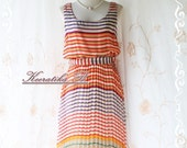 Strip Maxi Sundress - Stunning Sundress Playful Striped In Tangerine White And Blue Toned Sleeveless Matching Sash