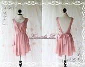 A Party Petite - Cocktail Prom Party Dinner Wedding Night Bridal Bridesmaid Dress Deep Back Pink Nude Petite Size Design V Neck Style