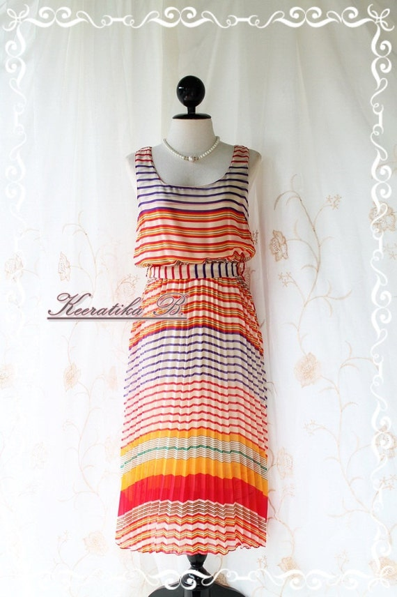Strip Maxi Sundress - Stunning Sundress Playful Striped In Tangerine White And Blue Toned Sleeveless Matching Sash