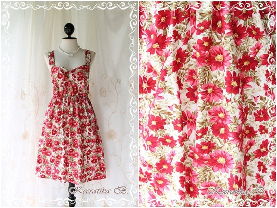 SALE Last Piece Funny Summer - Summer Sundress Cream With Petite Floral Print Sweet Lovely Spring Summer Dress For Plus Size Only L-XL