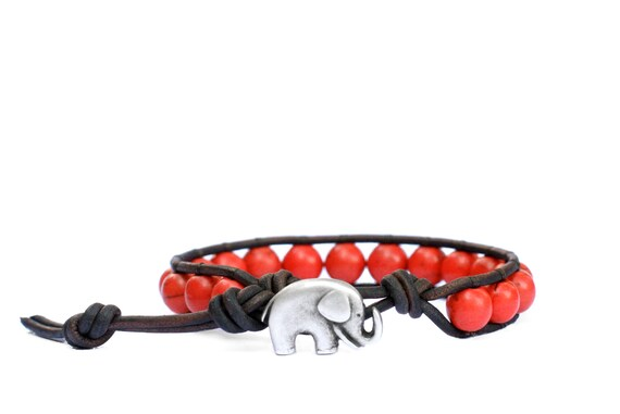 the lucky elephant Beaded Leather Wrap Bracelet - 8mm Pomegranate Turquoise with GOOD LUCK ELEPHANT