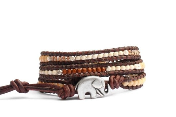 the lucky elephant Caramel, Cream and Brown  Leather Wrap Bracelet with GOOD LUCK ELEPHANT