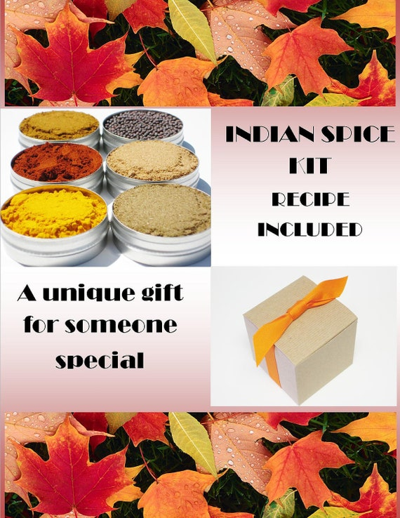 Indian Spice Kit Gift Box - 6 essential exotic spices & recipe included - delicious DIY cooking spice gift set for chefs / foodies