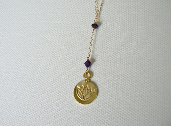 Gold Lotus Necklace, Amethyst Swarovski Crystals, Yoga & Spirituality Jewelry, January birthstone, Indira Boheme