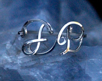 Two Initial Ring in Sterling Silver
