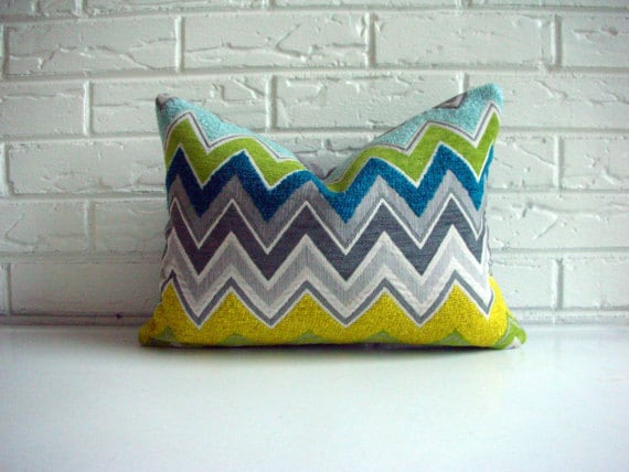 Decorative Designer Throw Pillow - F Schumacher Zenyatta Mondatta Peacock - Chevron Zig Zag - Gray Multicolor - Modern Eclectic 12  x 16