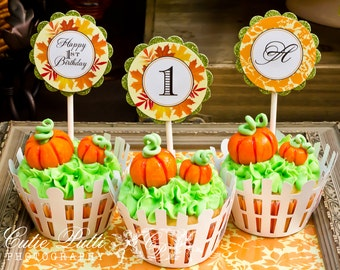 "Pumpkin Patch Party Cupcake Toppers,  2"" Custom Party Squares By Cutie Putti Paperie"