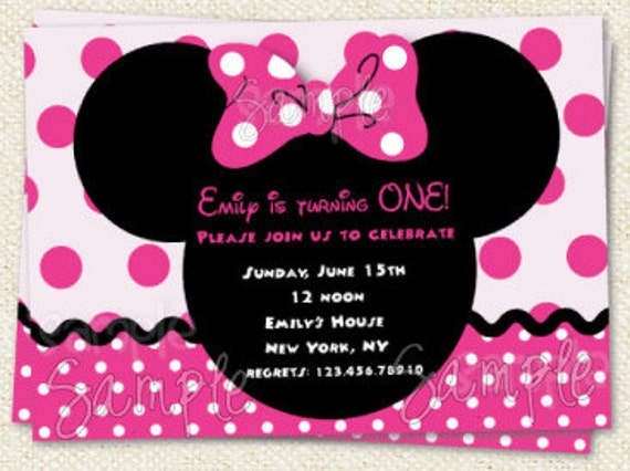 Items similar to Minnie Mouse Inspired Birthday Party Invitations