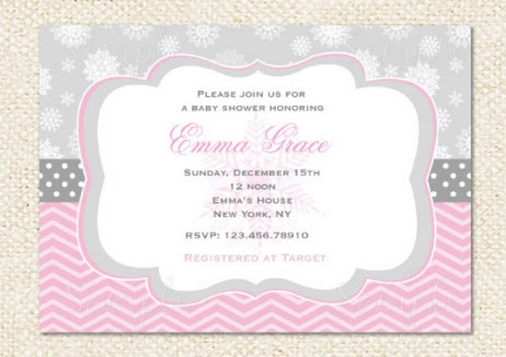 items similar to winter snowflake baby shower invitations on etsy