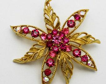 Vintage Pink Rhinestone Brooch Lisner Signed Flower