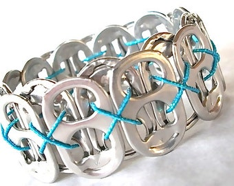 SODA TAB BRACELET - Aqua Sparkle - stretchy - for teens and adults - upcycled/recycled/eco friendly jewelry - under 10 dollars