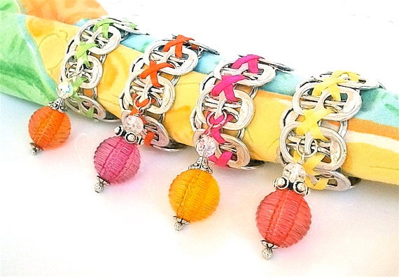 Beaded Soda Tab - NAPKIN RINGS - Citrus Sorbet - yellow, hot pink, lime, orange - set of 4 - eco-friendly/upcycled - under 20.00