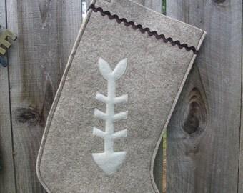 Wool Felt Stocking for Cat Lovers ----- fish bone