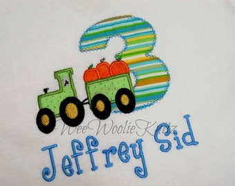 Boys Tractor Pumpkin Birthday Shirt  Hallooween ANY NUMBER Personalized Applique Toddler Tshirt 1st 2nd 3rd Photo Prop
