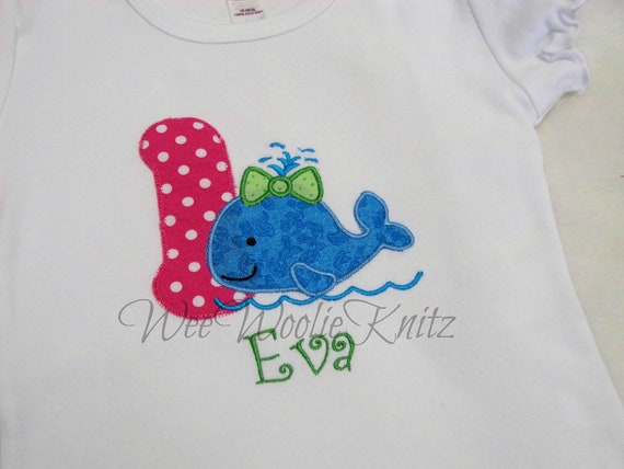 Girls Whale with Bow Birthday Shirt  Applique Personalized ANY NUMBER 1st 2nd 3rd 4th Tshirt Toddler Children
